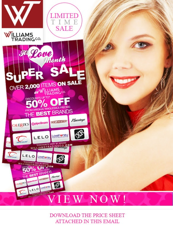 VD SUPER SALE It's Love Month Willaims Trading Co