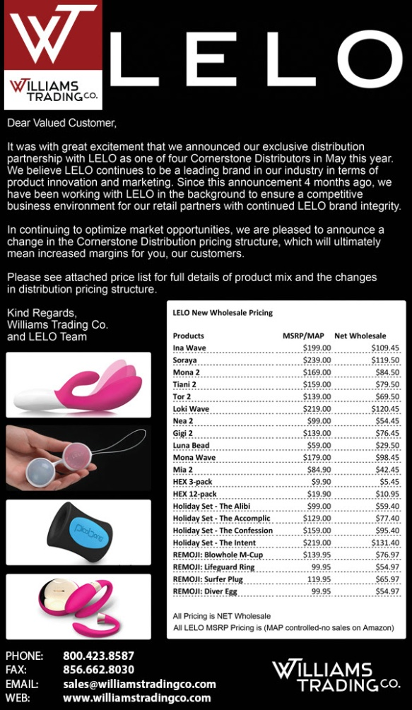 Williams Trading Co. Adult Novelty Wholesale Distributor Sex Toy.